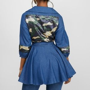 ultrachicfashion.com Tops - Sequin Camouflage Denim Top/Jacket